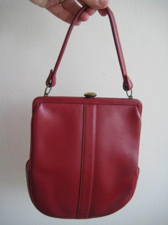 Pretty Red Leather Handbag by Jenco