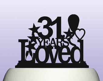 Acrylic Personalised Any Age Birthday Years Loved Theme Cake Topper Celebration Party Decoration