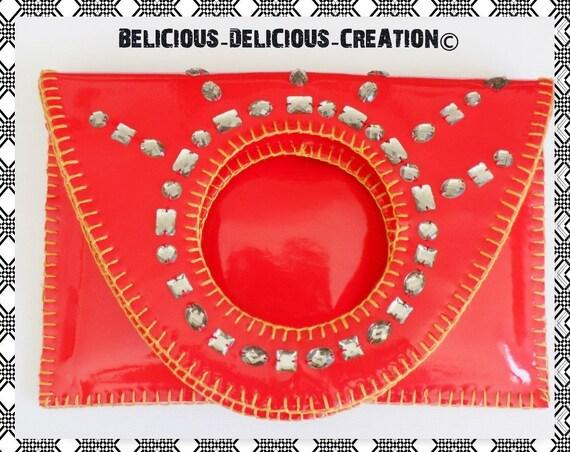 Original 2 en 1 Pochette et sac a main !! RED PIERRE FANTASY !! en simili cuir. Rouge T 28cm x 38cm belicious-delicious-creation