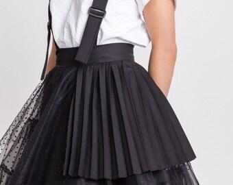 Woman's black tulle skirt / Unique pleated party skirt / Designer dungarees black skirt / Avantgarde skirt / Fasada 18016