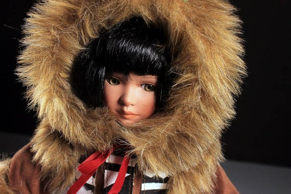 Paradise Galleries Porcelain Doll, White Star, Eskimo Doll, Cindy Shafer, Limited Edition,  Faux Fur, Faux Suede, Stand Included