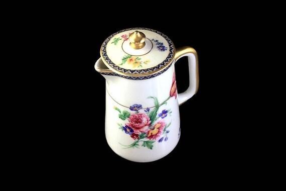 Antique Lidded Creamer, Theodore Haviland, Limoges France, Burgundy, Rare, Hard To Find, Floral Pattern, Milk Pitcher, Syrup Pitcher