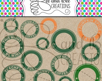 Digital File : Personalized Starbucks Bundle ring files. 14 SVG and PNG Files