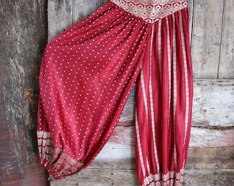 New! M: FIRE EATER, red, Jasmin Pants, Harem pants, Dance, ATS, Silk Sari, Tribal Fusion, Burning Man, Belly Dance, Barocco Tribal, Festival
