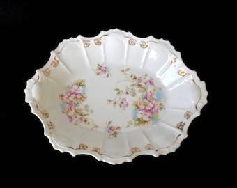 Antique Serving Bowl Roses Gold Trim Scalloped Oval Shape Art Nouveau