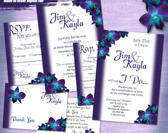 K&J Custom Orchid Wedding Invitation 6pc Digital Set, Printable Wedding Invitation Suite, Printable Invitation Set