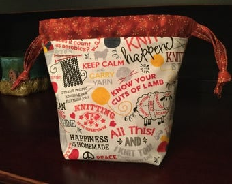Drawstring Knitting Project Bag with inner zippered pocket, Knitting Sayings