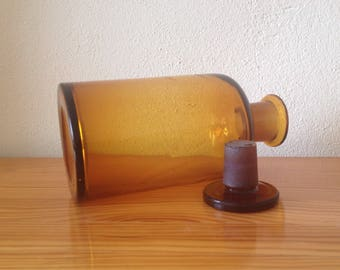 Large Antique medical DROP ANAESTHESIA amber glass bottle