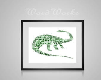 """Personalised Word Art Dinosaur  **Buy 3 prints get the 4th FREE**  Use coupon code """" MYFREEONE """""""