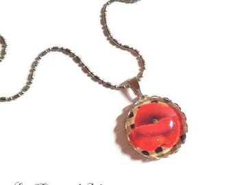 Ball with 18 mm cabochon necklace * poppy * (040617)