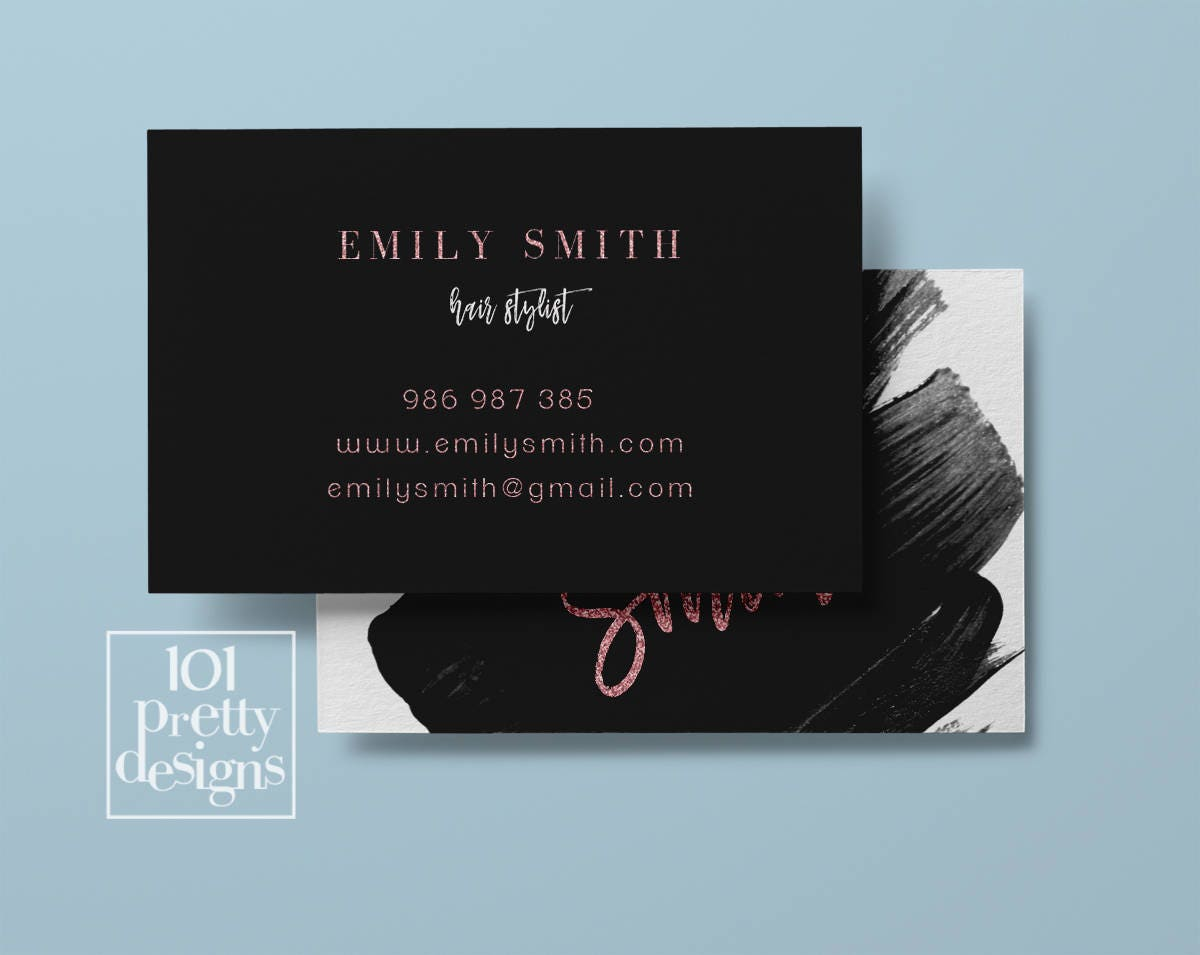 Watercolor business card pink glitter printable business card design ...