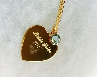 Bridesmaid gift, Bridesmaid jewelry, Bride Tribe charm necklace, monogram charm, custom necklace, initial jewelry, gold heart, engraved
