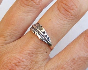 Sterling Silver Ring, Feather Ring