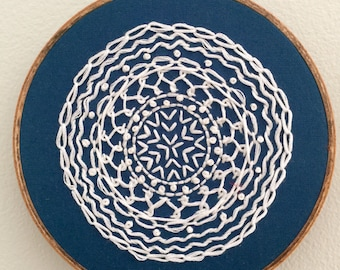 "Blue and White Mandala | 5"" Embroidery Hoop"