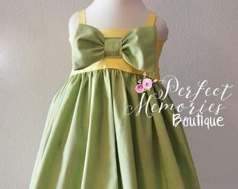 SALE Tiana Dress | Girls Princess Dress | Birthday Dress | Baby Tiana | Disney Dress | Halloween Costume | Princess Tiana | Disney Vacation