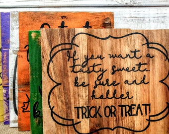 Handmade Halloween signs, Halloween art, Halloween home decor, rustic home decor, Halloween pallet art, photo prop, candy sign, witch sign