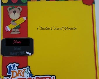 1st Day of Kindergarten School 1 Premade Scrapbook Page Paper Piecing for Album 12x12 Scrapbooking Customize