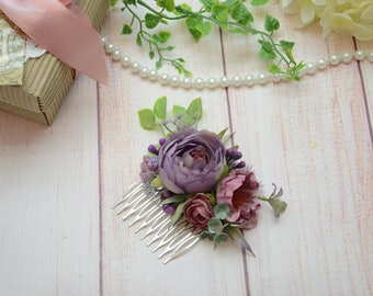 Dusty purple flower comb Purple Bridal comb Bridesmaid comb Bridal shower gift Party flower comb Purple Wedding comb Flower girl Hair comb