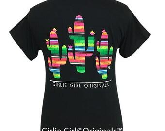 Girlie Girl Originals Serape Cactus Black Short Sleeve T-Shirt