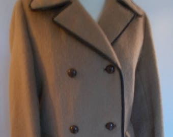 summer sale Vintage camel coat double breasted military style size medium