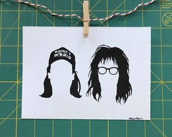 Wayne's World silhouette art print 5x7
