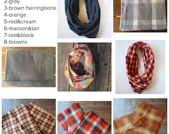 Infinity Scarf, plaid scarf, flannel scarf