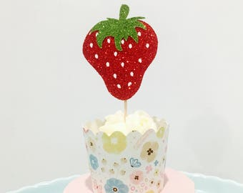 12ct Strawberry Tutti fruity cupcake toppers, 2nd birthday cupcake toppers, fruit cupcake toppers