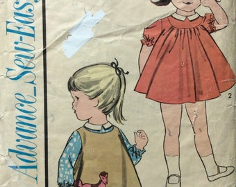 Advance 3361 girls dress & pinafore w/applique size 3 vintage 1960's sewing pattern