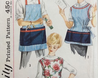 Simplicity 3206 vintage 1960's misses & mens apron and pot holder sewing pattern size medium  bust/chest 34-36