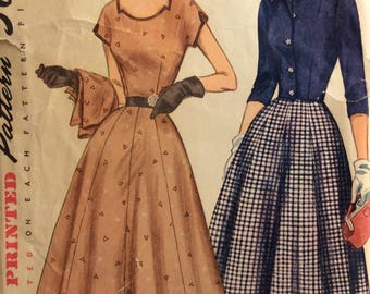 Simplicity 8470 misses dress and jacket size 12 bust 30 vintage 1950's sewing pattern