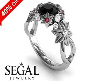 Custom Engagement Ring White Gold Flower Ring Designer Engagement Ring Black Diamond Ring Art Deco Ring Custom Engagement Ring - Katherine