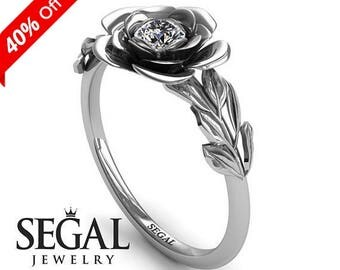 Rose Engagement Ring White Gold Diamond Ring Flower Engagement Ring Unique Bridal Ring White Gold Rose Engagement Ring - Adalyn