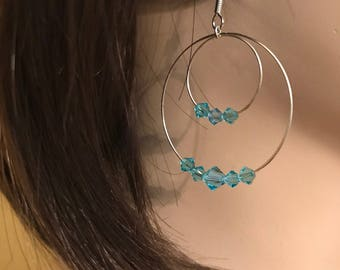 Swarovski Turquoise Crystal Earrings: double hoop