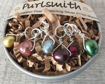 Winter Garden Mix Sterling Silver & Freshwater Pearl Stitch Markers for Knitting,Set of 6,Knitting Notions, Gift for Knitter