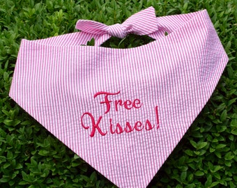 Free Kisses! Hot Pink Seersucker Bandana || Preppy Dog Scarf Fuchsia Tone on Tone || Puppy Gift by Three Spoiled Dogs