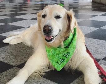 St Patricks Day Pet Bandana || Shamrocks Lucky Irish Personalized Dog Scarf || Reversible Custom Gift by Three Spoiled Dogs