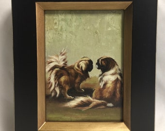 Framed Oil Painting Dogs