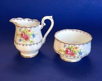 Royal Albert Petit Point English Bone Cream Pitcher and Sugar Bowl Mint