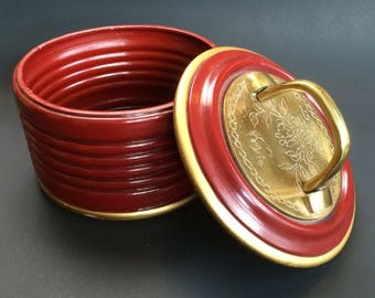 Knob Creek Chinese Red and Brass  Pottery Vanity Bowl or Trinket Dish