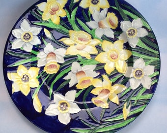 """Maling Majolica Decorative 11"""" Pottery Plate Made in England Antique"""