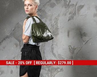 olive green bag - green leather bag - green leather purse - green leather tote bag - green tote bag - green leather shoulder bag - CLOG