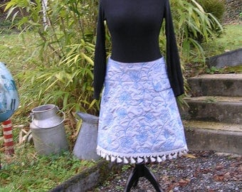 "Denim and satin a line skirt ""Celestite in the land of flowers"""