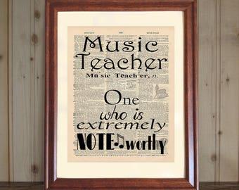 Music Teacher Dictionary Print, Music Teacher Quote, Music Teacher Gift, Graduation Gift for Music Teacher, Music Teacher Print, 5x7 / 8x10
