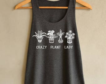 Crazy plant lady Shirt Plants Tank Top in Vintage Summer Tank Top Dark Gray Shirts Womens