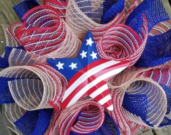 SALE 4th July Wreath, Patriotic Wreath, USA Wreath, Rustic Wreath, Memorial Day Wreath, Burlap Wreath, Star Wreath, Jute Mesh