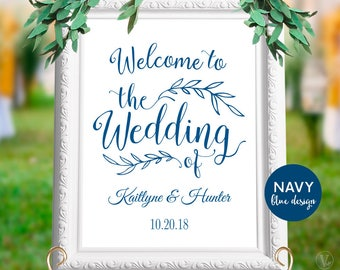 "Printable Navy Blue Wedding Welcome Sign, Personalized Custom Wedding Sign, 18""x24"" and 24""x36"" sizes, WS001, WV00"
