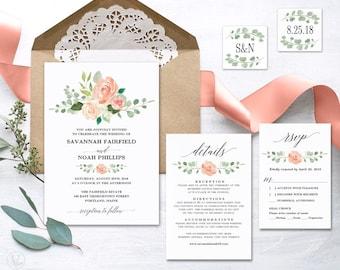 Peach Blush Floral Wedding Invitation, Printable Wedding Invitation  Template, Romantic Wedding Invitation, Editable