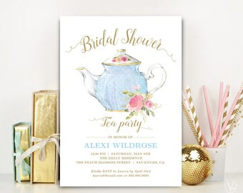 Bridal Shower Tea Party Invitation Template, Printable Bridal Shower Invitation, Editable Text, Baby Blue and Gold, Tea Party
