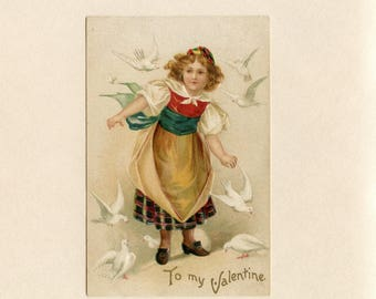 Vintage Valentine Day Postcard Brown Haired Girl with White Doves Embossed Unused by International Art Publishing Co NY - 9114P