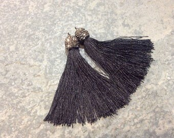 Black Silk tassel pendants with decorative beaded silver cap Beautiful tassels for Jewelry Making